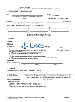 Form Original Petition for Divorce With Children - Texas Forms ...