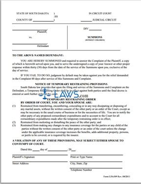 Form UJS 309 Summons Without Children