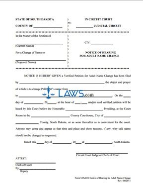 Form UJS-026 Notice of Hearing for Adult Name Change