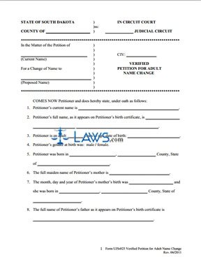 Form UJS-025 Verified Petition for Adult Name Change