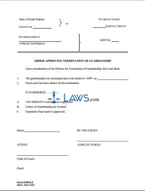 Form 5-501a2 Order Approving Termination of Guardianship