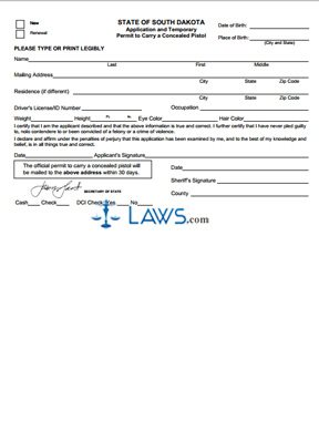 Form Application and Temporary Permit to Carry a Concealed Pistol