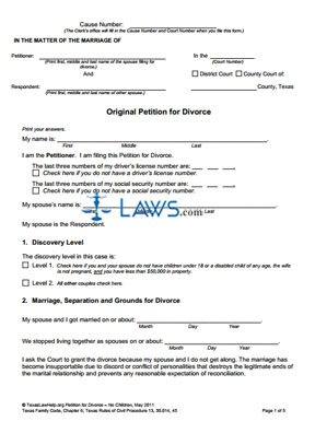 Form Original Petition for Divorce Without Children - Texas Forms ...