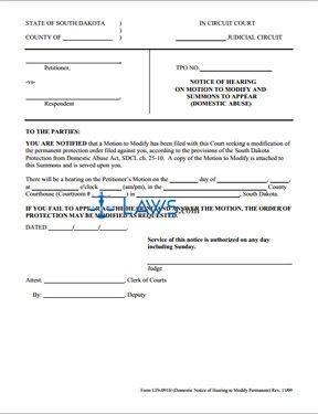 UJS-091H-Notice of Hearing to Modify Form