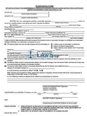 Form CHL-81 Suspension Affidavit