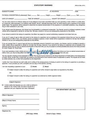Form DIC-24 Peace Officer DWI Statutory Warning