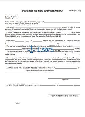 Form DIC-56 Breath Test Technical Supervisor Affidavit