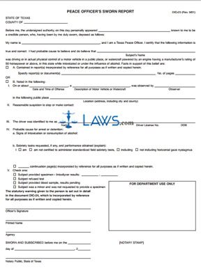 Form DIC-23 Peace Officers Sworn Report | Legal Forms