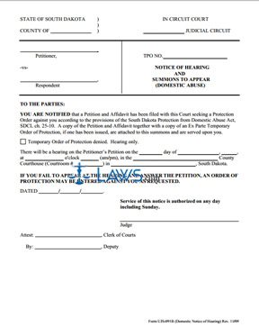 UJS-091B-Notice of Hearing Form