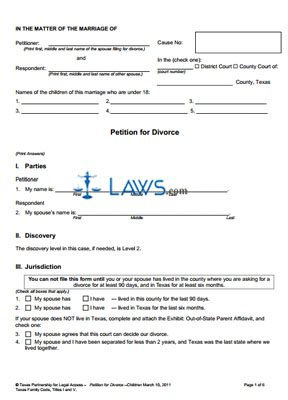 Form Uncontested Divorce In Texas Packet Texas Forms