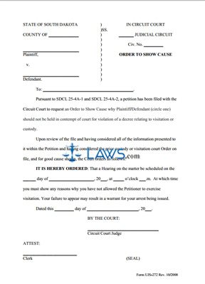 UJS-272-Order to Show Cause