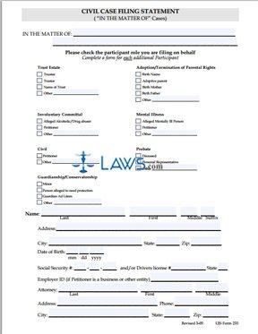 UJS-233 Civil Filing Statement