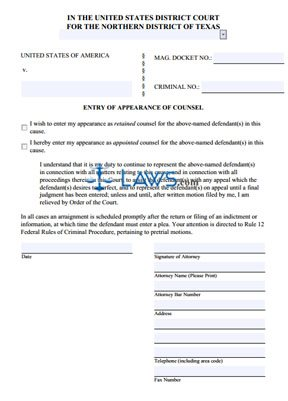 entry of appearance of counsel texas forms lawscom
