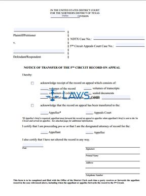 Appeal Transfer of Record Form