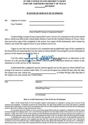 Waiver of Service of Summons
