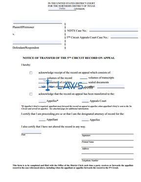 Notice Of Transfer Of The Fifth Circuit Or Federal Circuit