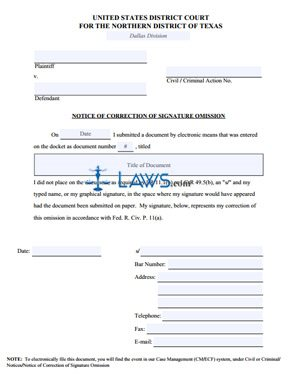 Notice of Correction of Signature Omission Form