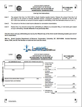 Form SC1120S-WH Withholding Tax on Income of Nonresident Shareholders