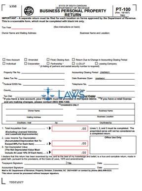 Form PT-100 Business Personal Property Return