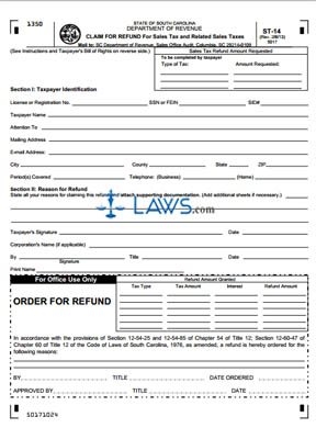 Form st 14 claim for refund for sales tax sales tax forms laws form st 14 claim for refund for sales tax altavistaventures Images