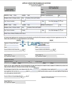 Form Application for Marriage License - Horry County