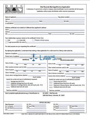 Form DHEC 0639 Vital Records Marriage Divorce Application