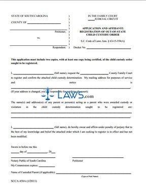 Form SCCA458A Application and Affidavit Registration of Out of ...