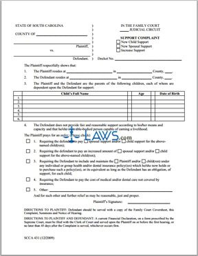 Form SCCA431 Support Complaint