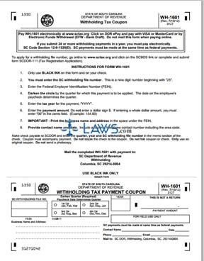 Form WH-1601 SC Withholding Tax Payment