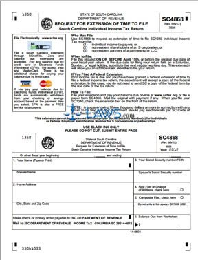 Form SC4868 Request for Extension of Time to File SC Tax Return