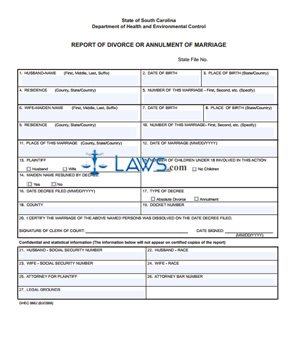 Form Dhec 0682 Report Of Divorce Or Annulment Of Marriage