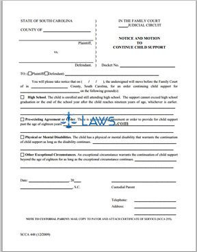 Form SCCA 448 Notice and Motion to Continue Child Support