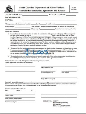 Form FR-229 Financial Responsibility Agreement and Release