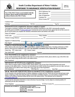 Form FR-31A Response to Insurance Verification Request