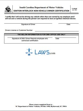 Form VS-004B Ignition Interlock Non-Vehicle Owner Certification
