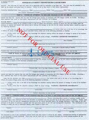 Form 5047 Power of Attorney - Odometer Disclosur