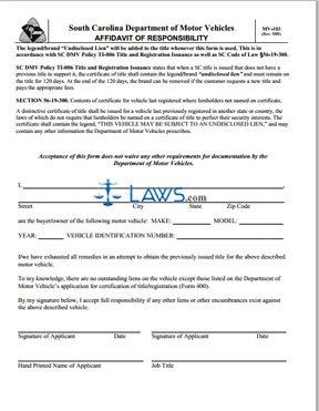 Form MV-103 Affidavit of Responsibility