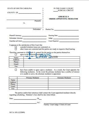 Form SCCA 105 Order Appointing Mediator