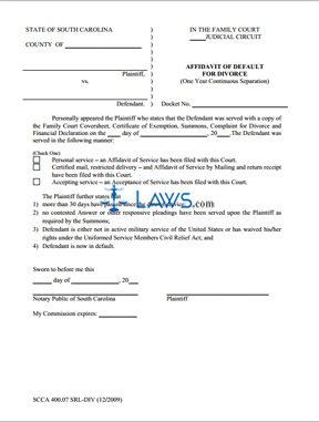 Affidavit of Default for Divorce
