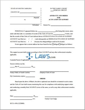 Affidavit and Order for Activation of Support