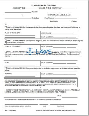 Subpoena in a Civil Case