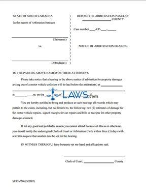 Notice of Arbitration Hearing