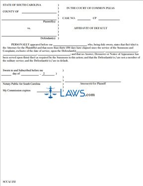 Affidavit of Default