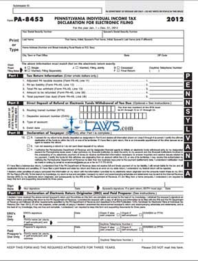 Form PA-8453 Pennsylvania Individual Income Tax Declaration for ...