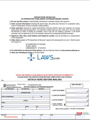 Form Rev 853 Pa Corporation Taxes Annual Extension Request
