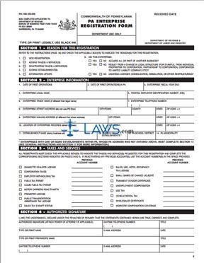 Form PA-100 Enterprise Registration Form and Instructions ...