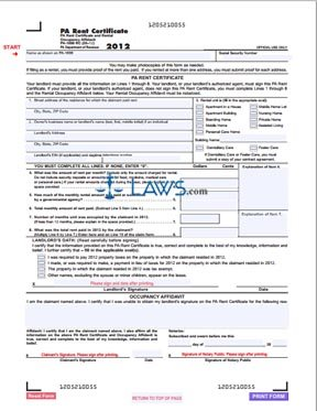 Form PA-1000 RC Rent Certificate and Rental Occupancy Affidavit ...