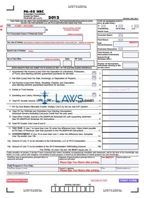 Form PA-40 NRC Nonresident Consolidated Income Tax Return