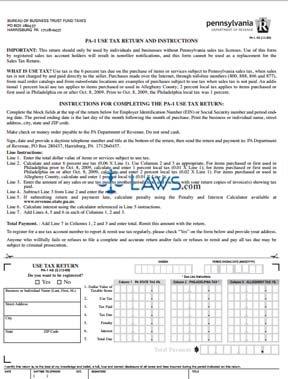 Form PA-1 Use Tax Return - Sales Tax Forms - | Laws.com