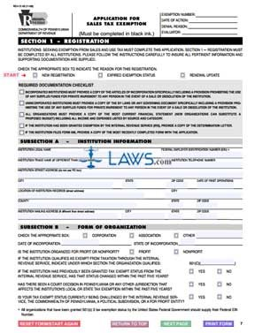 Pa Sales Tax >> Form Rev 72 Application For Sales Tax Exemption Legal Forms